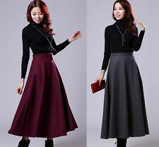 New Winter Warm Retro Womens Slim Add Thick wool pleated Long MAXI A-line Skirts