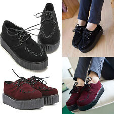 Womens Girls Lace Up High Goth Punk Casual Platform Flats Creeper Shoes Boots