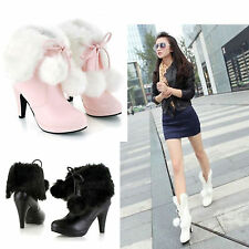 Womens High Heel Christmas Gift Fur Winter Lace Up Snow Warm Ankle Boots Shoes