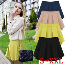 Lady Cotton Blend High Waist Mini Skirt Autumn Winter Pleated Skirt Solid Shorts