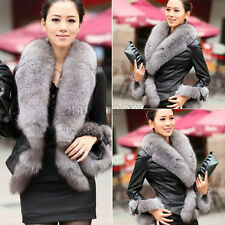 Women's Winter Warm Faux Fur Collar Coat Leather Jacket Overcoat Parka Tops