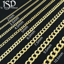 10k Yellow Gold Mens Womens Hollow Cuban Curb Link Chain Necklace 3.5mm - 10.5mm