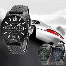 Mens Cool Glamor Analog Silicone Stainless Steel Quartz Hours Sports Wrist Watch