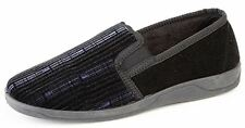 Mens Gents Twin Gusset Comfy Memory Foam Durable Soft Slip On Slippers - Black