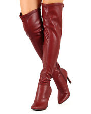 New Women Breckelles Beverly-16 Leatherette Pointy Toe Thigh High Stiletto Boot
