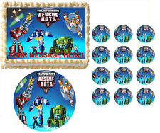 Transformers Rescue Bots Characters Edible Cake Topper Frosting Sheet -All Sizes