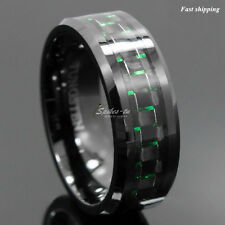 Men's jewelry Tungsten Ring with Carbon Fiber 8mm Black and Green Wedding Band