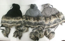 KNITTED BOBBLE HAT WITH FAUX FUR TRIM AVAILABLE IN BLACK, GREY & TAUPE 90921