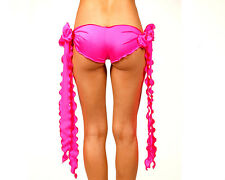 Sexy Neon Pink Ribbon Tie Shorts. Sexy Dancewear. Made in the USA. One Size