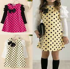 Super Trendy Kids Girls Toddler Dots Clothes Clothing Skirt Dress Sz2-7Y