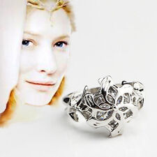 Gift Boxed Lord of the Rings Solid 925 Silver Galadriel Crystal Nenya Ring sz6-9