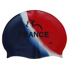 CHEX 100% Silicone France French Design Swimming Swim Hat Cap Blue Red White