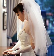 Layer 2 White Cut Edge Fingertip Bridal veil Wedding Accessories + Comb
