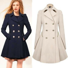 Fashion Women Lady Bodycon New Double Breasted Peacoat Lapel Long Outwear Parkas