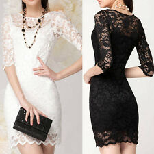 women Bodycon peplum flower lace black slash o-neck sexy evening  mini dress