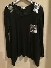 Perfect Holiday Top With Silver Sequin Details