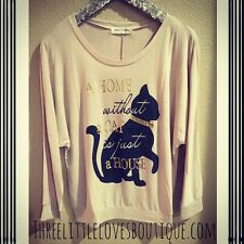 """""""A HOME WITHOUT A CAT IS JUST A HOUSE"""" LONG SLEEVE TOP"""