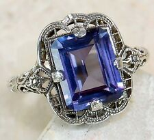 3CT COLOR CHANGING ALEXANDRITE .925 SOLID STERLING SILVER FILIGREE ART DECO RING