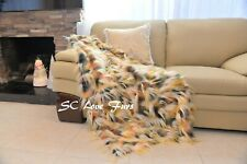 """60"""" 72"""" 84"""" Exotic Gold Feathers Faux Fur Throws Comforter Black White Ostrich"""