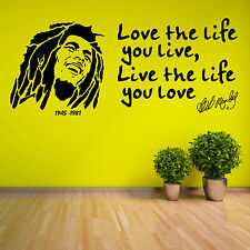 BOB MARLEY Love The Life You Live 1945 1981 VINYL WALL ART STICKER DECAL QUOTE