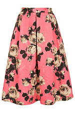 Topshop Rose Print Textured Jacquard Full Midi Skirt Pink UK 8 10 12 Bloggers