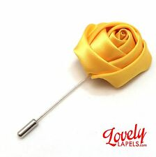 Men's Flower Lapel Pin YELLOW SATIN ROSE Lovely Handmade Floral Silk Boutonniere