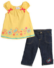 Baby Togs Baby Girls' 2 Piece Yellow Summer Top Denim Jeans Set