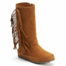 Mudd Girls Faux Suede Fringe Boots, NEW, Size  12 13 1 2 3 4 5  Tan