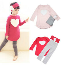 Fashion Kids Girls Clothes Cheap Long Sleeve Top+Pant+Hair Band Outfits Sz2-7Y