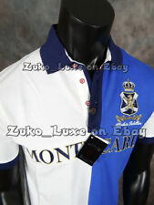 "Mens ABSOLUTE REBELLION Dress / Club Polo Embroidered Shirt ""MONTE CARLO"" BLUE"