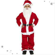 Child Kids Santa Claus Suit With Beard Christmas Father Fancy Dress Boys Costume