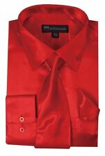 Men's Fashion Quality satin dress shirt with tie & handkerchief Milano Red SG08