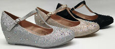 NEW Chase & Chloe Womens WEDDING PAGEANT Bob7 T strap Low Heel Wedge Round Shoes