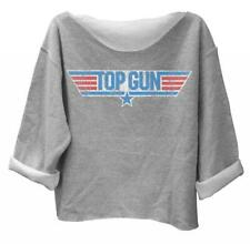 Juniors Gray Pilot Movie Top Gun Distressed Logo Off the Shoulder Sweatshirt