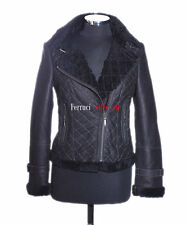 Cecily Black Ladies Short Biker Style Real Shearling Sheepskin Leather Jacket