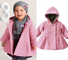 Hot Sale Baby Girls Lovely Hooded Warm Wool Cotton Jacket Trench Coat Outwear