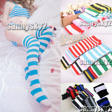 Women Casual Cotton Thick Stripe Tube Knee High Sock Cosplay Colorful Stocking