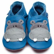 Inch Blue Boys Baby Luxury Leather Soft Sole Pram Shoes - Hippo Blue Grey