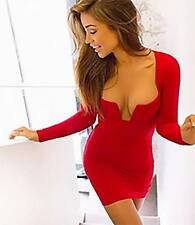 Red Long Sleeve Cut Out V Neck Zip Back Bodycon Tight Fitted Sexy Mini Dress NWT