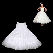 LONG 1950's SWING VINTAGE WHITE PETTICOAT  NYLON UNDERSKIRT SUPER FULL