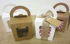 30 x WHITE BROWN KRAFT Lolly Candy Boxes Loot Party Bag CRAFT Cupcake Box