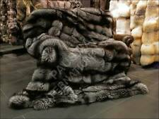915 SAGA Silver Fox real Fur Blanket genuine furry Rug XXL Bed Throw Double Size