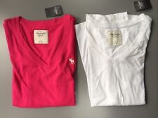 NWT Womens Abercrombie & Fitch L/S Shirt V Neck Size Medium $38 White Pink