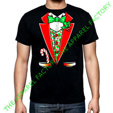 New Christmas Tuxedo Costume T shirt Outfit Funny Santa Ugly Sweater Suit Tee