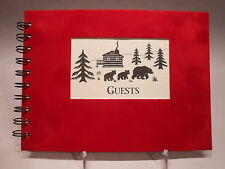 Rustic Lodge Sueded Cover GUEST BOOK Bears & Log Cabin Pattern