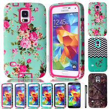 Hybrid Impact Dual Layers TPU Matte Hard Combo Cases Cover For Samsung Galaxy S5