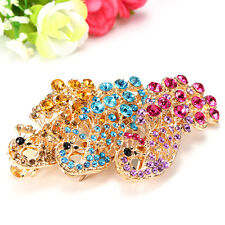 Fashion Peacock Full Crystal Rhinestones Barrette Hair Clip Bridal Decoration