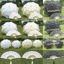 Beautiful Lace Parasol Umbrella Hand Fan For Bridal Wedding Decoration 3 Colors