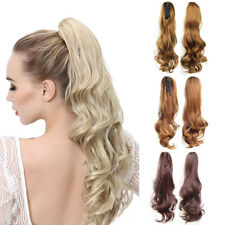 "22"" Claw Pony tail Ponytail Clip In On Hair Extension Wavy Curly Style 20 Colors"