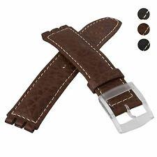 Diloy Genuine Leather Watch Strap for Scuba Swatch Watches 17mm